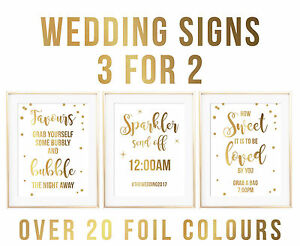 A4 FOIL QUOTE WEDDING SIGN GUESTBOOK TABLE NUMBERS PHOTOBOOTH ...