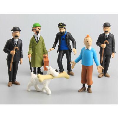 6pcsFIGURINE Les Aventures de Tintin Milou Capitaine Haddock Action Figure
