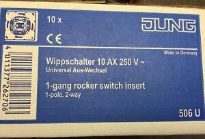 10x-Schalter-JUNG-Wippschalter-10-AX-250V-Universal-Aus-Wechsel-506-U-Made-in-DE