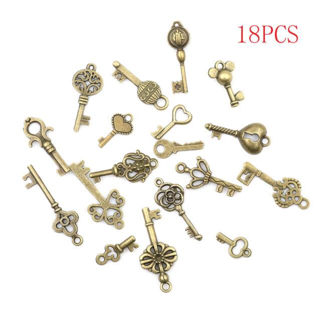 18Pcs Antique Vintage Old Look Skeleton Keys Lot Bronze Tone Pendants Jewelry