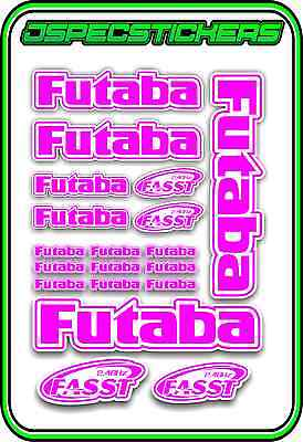 FUTABA RC STICKERS A5 SHEET R//C PLANE CAR BUGGY HELI REMOTE CONTROL PINK WHITE