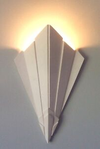 ART-DECO-STYLE-Plaster-wall-Uplighter-LED-supplied-torch-design