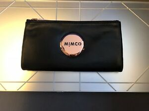 MIMCO-Black-MIM-FOLD-WALLET-Rose-Gold-button-Sheep-Leather-Authentic-BNWT-RRP179