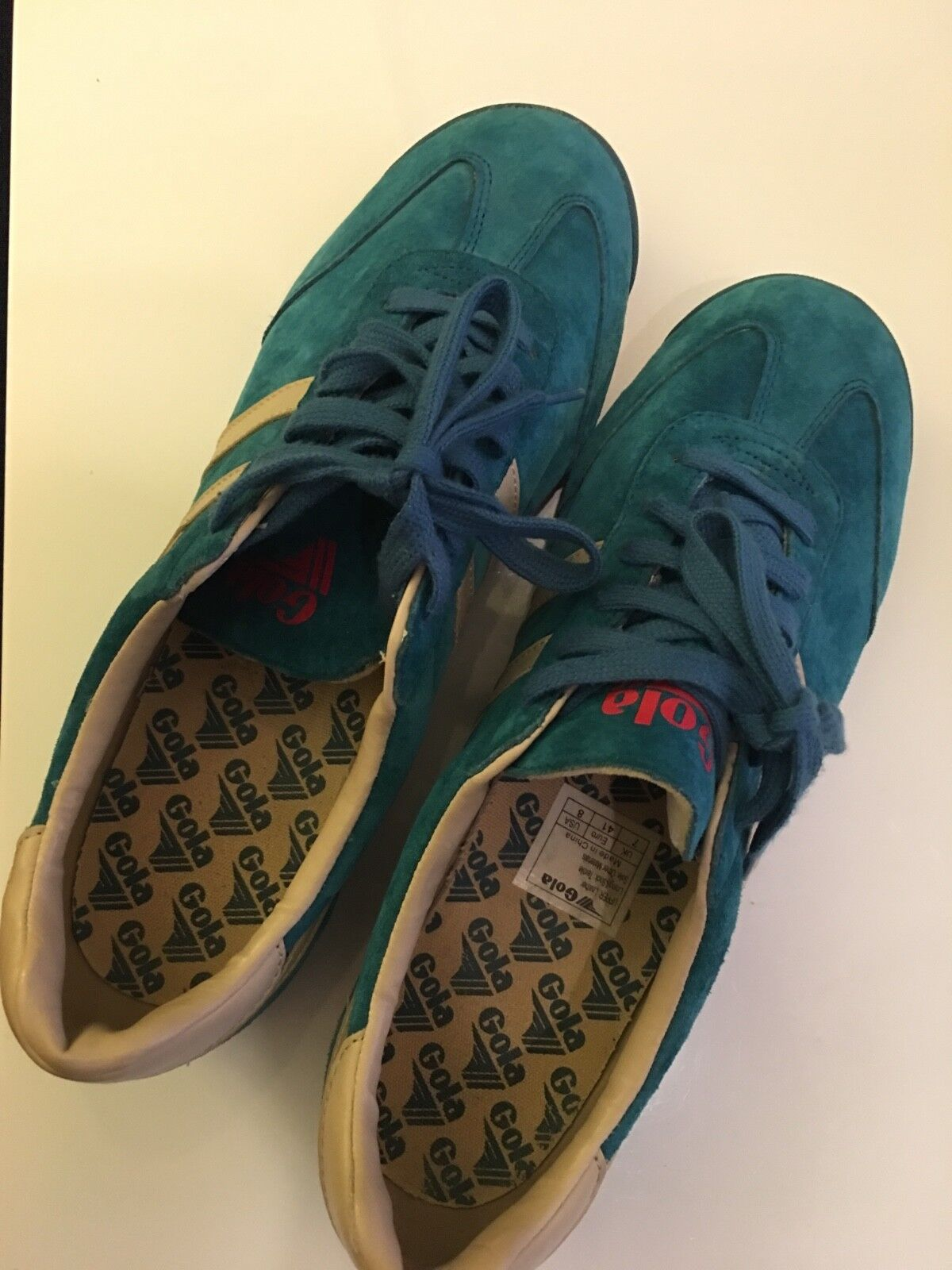 Men sz 8 Gola Blau suede and tan leather Turnschuhe