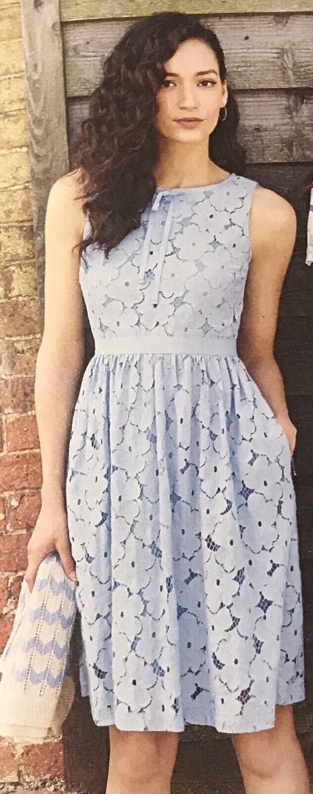Cath Kidston Summer cool dentelle Blaue robe sans manches Größe 14 Bnwt