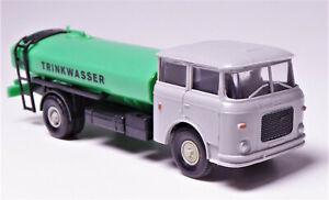 H0-Permot-Modelltec-s-e-s-Skoda-Wasserwagen-Trinkwasser-Flachtank-DDR-grau-gruen