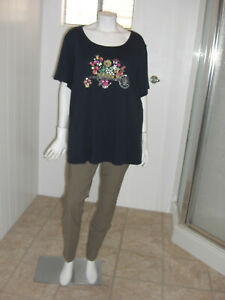 KAREN-SCOTT-Woman-Floral-Embroidered-Short-Sleeves-Stretch-Knit-Top-Size-2X