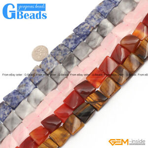 Natural-Assorted-Stones-16mm-Square-Wave-Beads-For-Jewelry-Making-Free-Shipping