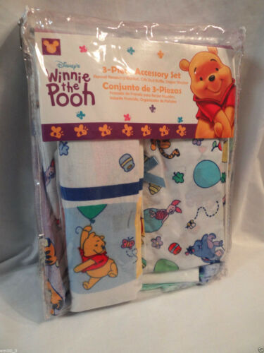 NEW IN PACKAGE WINNIE THE POOH 3 PIECE SET DIAPER STACKER BLANKET CRIB RUFFLE