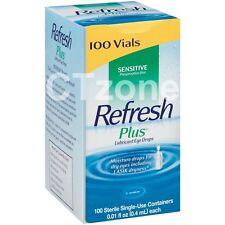 100 Refresh Plus Lubricant EYE Drops Moisture Lasik Dryness Dry Eyes 100 Vials
