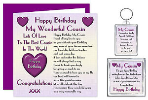 Image Is Loading My Cousin Happy Birthday Gift Set Card Keyring