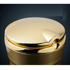 1x Golden Auto Accessories illuminated Ashtray With Led Light Easy Clean LJ