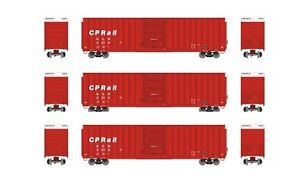 Athearn-FMC-60-039-Hi-Cube-Ex-Post-Canadian-Pacific-CPR-Box-Car-3-Car-Bundle-HO