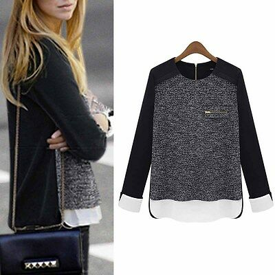 Fashion Women Long Sleeve Chiffon Stitching Loose Knit Sweater Shirt Tops Casual