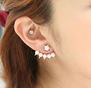 Image Is Loading Gold Plated Stud Pearl Spike Earrings Ear Jacket