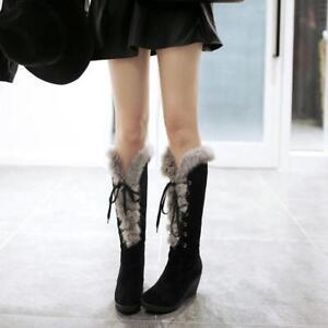Women-039-s-Fur-Furry-Warm-Winter-Knee-High-Boots-Lace-up-Wedge-Heel-Platform-Design