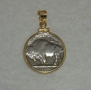Folkloreschmuck Münze Schmuck Anhänger Vintage Büffel Nickel 14k Gefülltes Gold Blende Gelötet Uhren & Schmuck