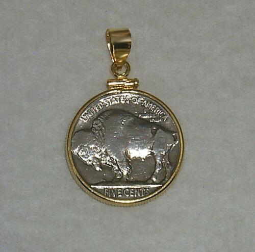 Coin Jewelry Pendant VINTAGE BUFFALO NICKEL 14K Gold Filled Bezel Soldered Bail