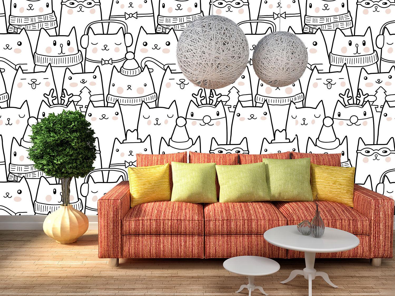 Papel Pintado Mural De Vellón Gato Animados 111 Paisaje Fondo De Pansize ES AJ
