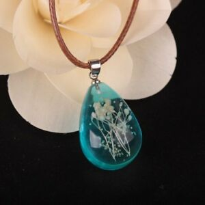 New Glow In The Dark Dried Flower Waterdrop Stone Pendant Necklace Jewelry Gift