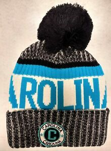 CAROLINA!!   Blue and Black Landmark Patch  Pom Pom Knit Beanie Hat