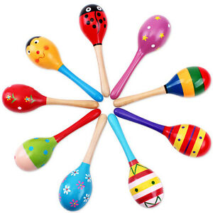 Baby-Kinder-Sound-Musik-Spielzeug-Geschenk-Kleinkind-Holz-Rassel-Sand-Hammer
