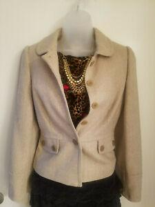 NWT-Ann-Taylor-Loft-Women-039-s-4P-Petite-Beige-Tweed-Blazer-Jacket