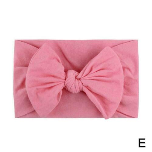 Toddler Girls Baby Turban Solid Headband Hair Band Accessories Headwear Bow F6S8