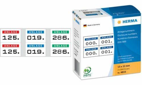 1000x HERMA Anlagenummern dunkelblau schwarze Zahlen selbstklebend Etiketten