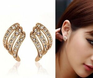 18K-REAL-GOLD-FILLED-ANGEL-WING-STUD-EARRINGS-MADE-WITH-SWAROVSKI-CRYSTALS-XMAS