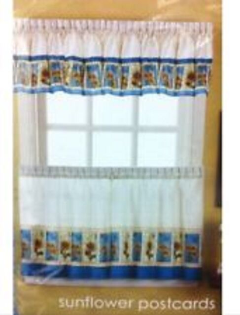 Sunflower Postcards Kitchen Curtains 36L Tiers and Valance Set