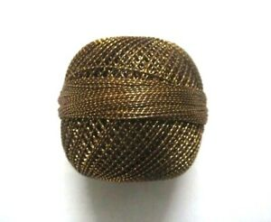 Crochet Embroidery Knitting Brown with Gold Lurex 20 grams Cotton Yarn Thread