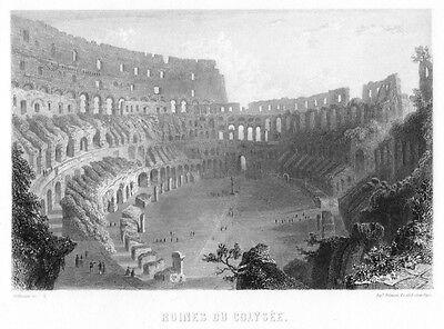 Rom, das Kolosseum, Original-Stahlstich von ca. 1850