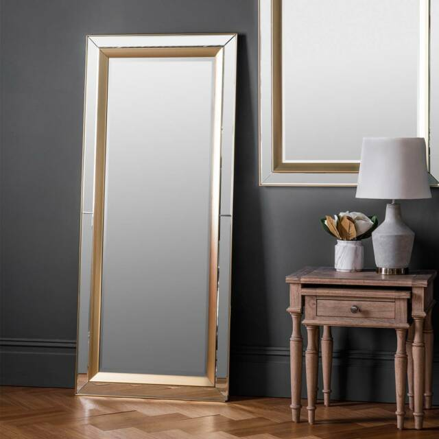 Phantom Full Length Leaner Wall Mirror Venetian Gl Frame Gold Edge 62