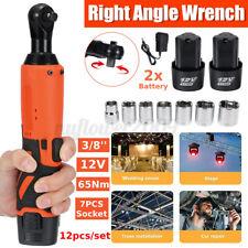 "7Pcs Socket 3//8/"" 65N.m 12V Electric Cordless Ratchet Right Angle Wrench impact"