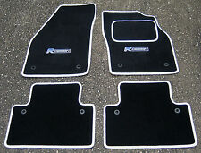Car Mats in Black/White Trim to fit Volvo S40/V50 (2004-2012) + R Design Logos