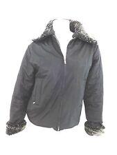 CW SPORT WOMENS BLACK PVC WATERPROOF JACKET COAT SIZE S FUR COLLAR