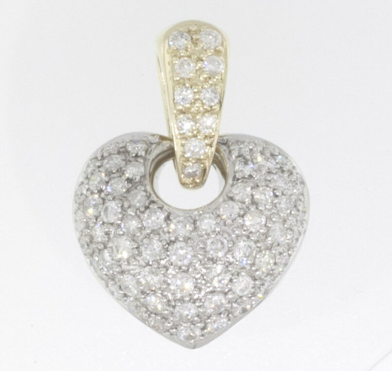 1.00 CTW DIAMOND PAVE TWO TONE 14 KT gold PUFFY HEART 7 8  PENDANT, PAVE BAIL