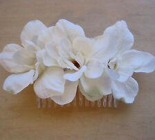 Triple Cream White Apple Blossom  Silk Flowers  Hair Comb, Prom, Bridal, Dance