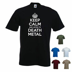 /'Keep Calm and Listen to Death Metal/' Heavy Metal Guitar Emo Rock T-shirt Tee