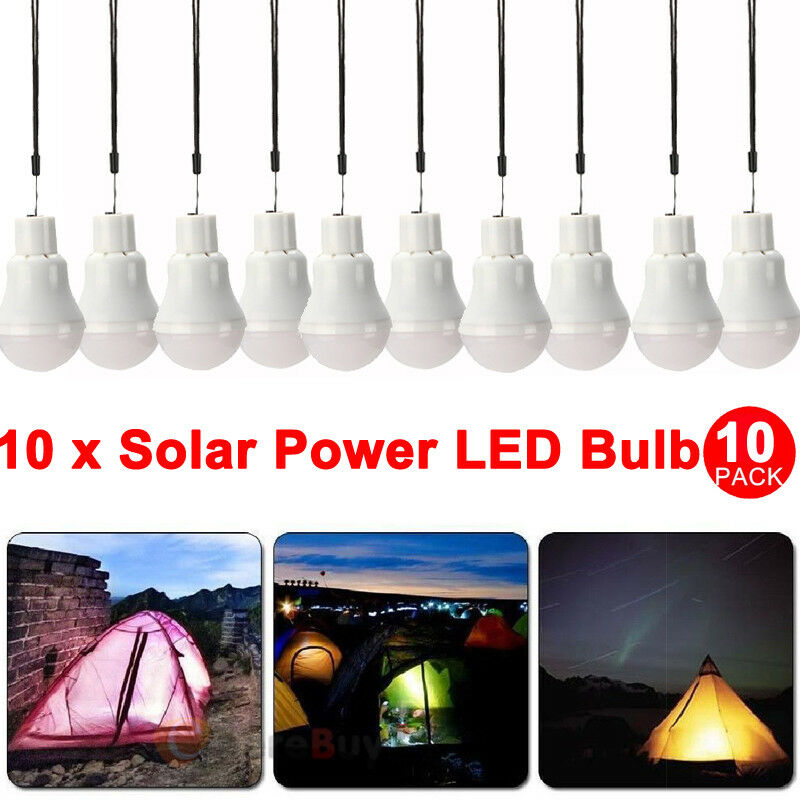 10x Portable Bulb Outdoor & Indoor Solar Powered LED Lighting System Solar Panel