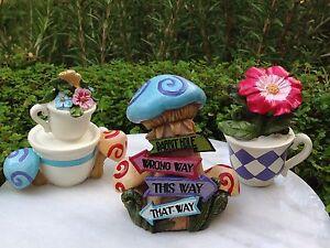 Miniature Dollhouse Fairy Garden Alice In Wonderland Tea Cups Mushroom Sign