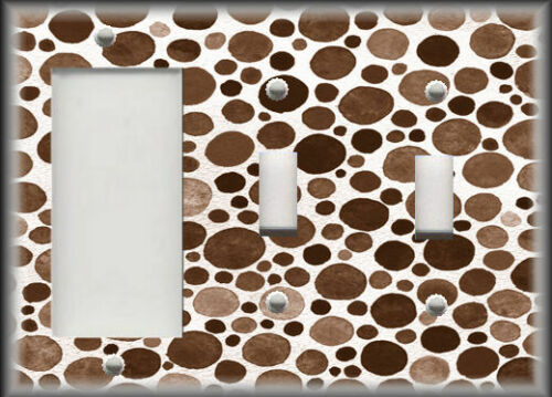 Modern Home Decor Shades Of Brown Polka Dots Metal Light Switch Plate Cover