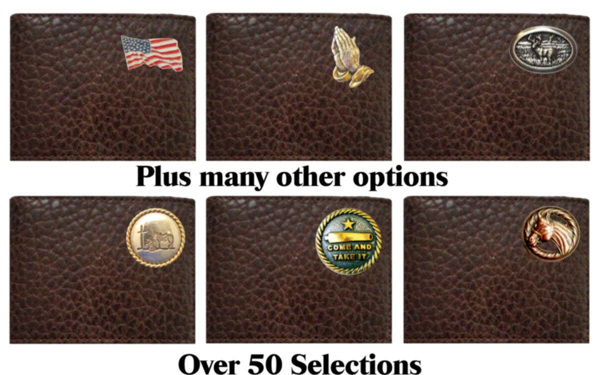 Portefeuille en cuir bi-pli en cuir chocolat américain robuste robuste.Fabriqué aux Etats-Unis