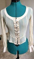 Bcbg Max Azria To The Max Semi-Sheer 100% Silk Button Down Shirt Top Blouse, XS