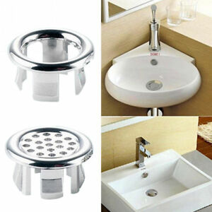 Details About 2pcs Plastic Bathroom Basin Sink Overflow Cover Round Ring Tidy Insert Tools