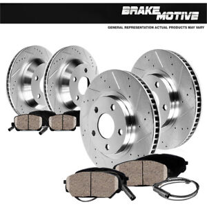 Front-Rear-Drill-Slot-Brake-Rotors-amp-Ceramic-Pads-For-Mercedes-Benz-GLK350