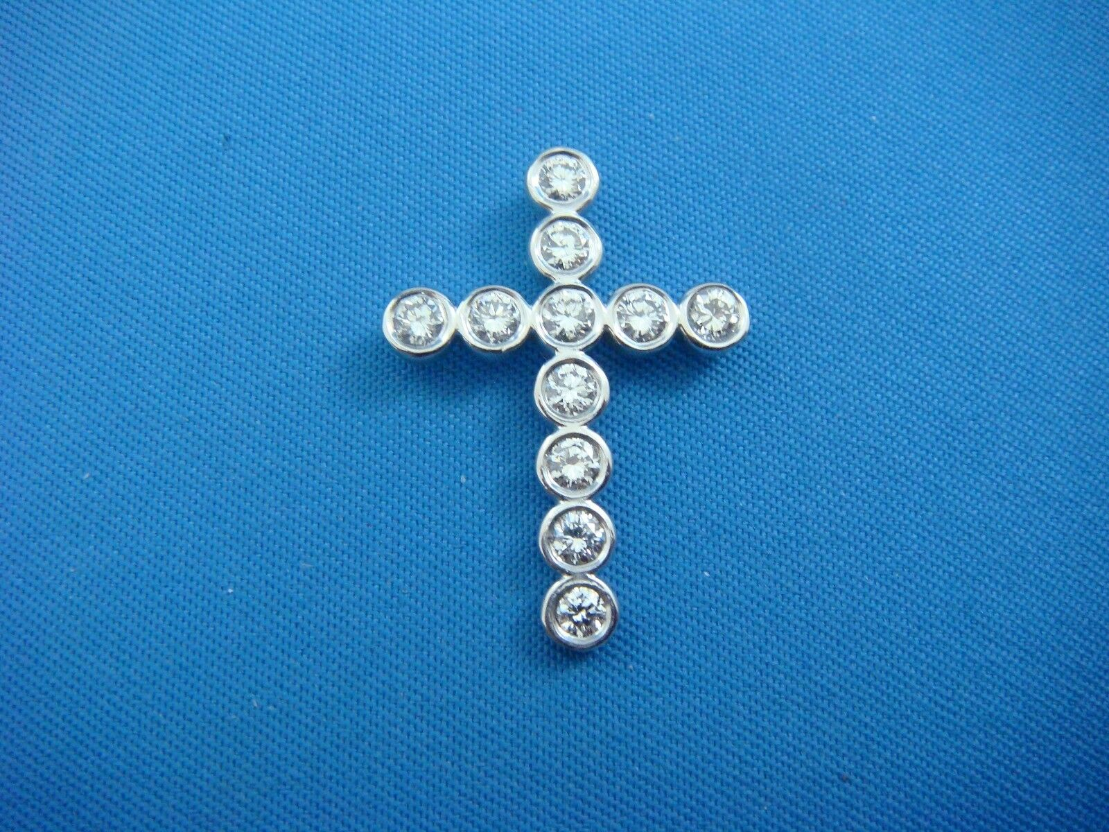 14K WHITE gold 0.80 CT T.W. DIAMONDS BEZEL CROSS 2 GRAMS, 1  LONG, HIDDEN BAIL