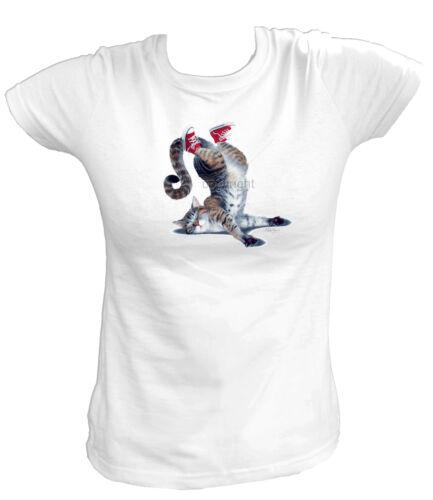 CAT ON FACE Katze Cat Kater Funny Fun Katzen Amerika USA Damen T-Shirt 18391