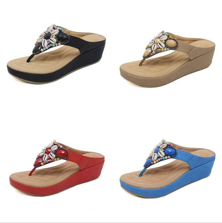 Womens Fashion Wedge Sequins Thong Sandals Comfort Wedge Heels Sandals shoes New